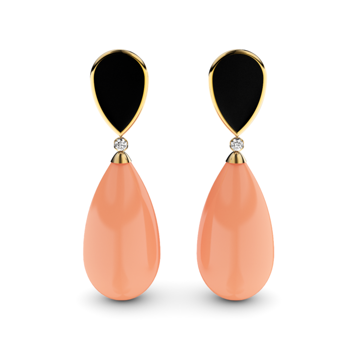 Gold Plated Silver, Diamond & Coral Earrings