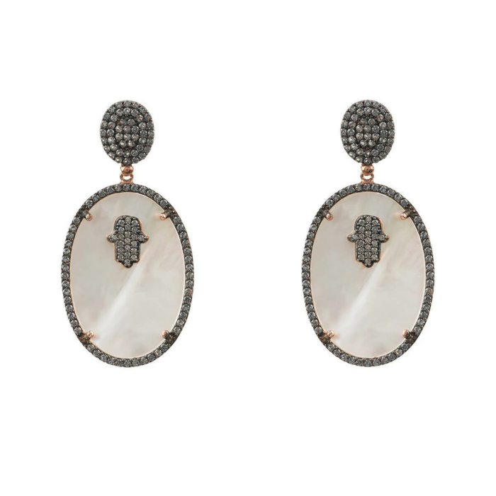 Rose Gold Plated Hamsa White Mother Of Pearl Oval Earrings