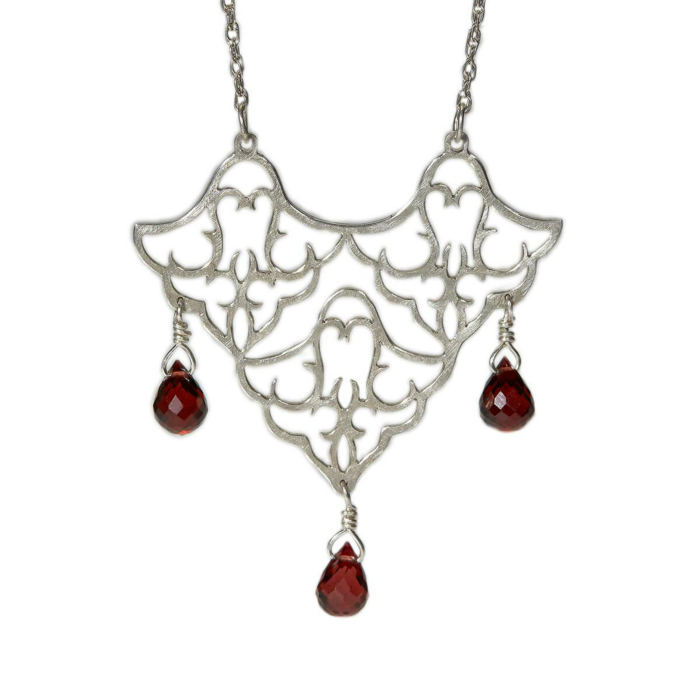 Sterling Silver Trio Pendant Necklace With Red Garnet