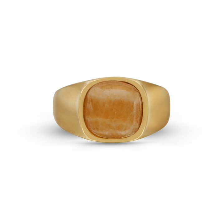 Yellow Gold Plated & Yellow Lace Agate Ring