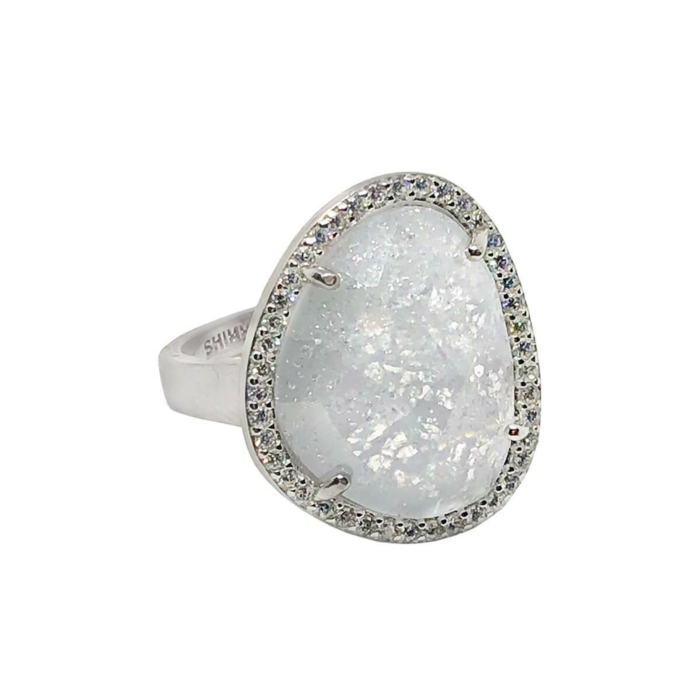 Rhodium Plated Abstract Halo Cocktail Ring With White CZ Stone