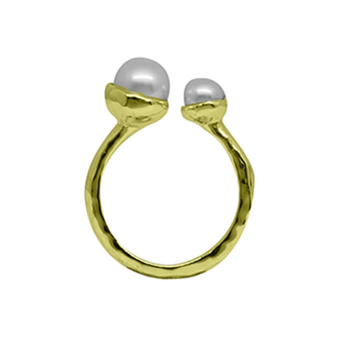 Gold & Double White Pearl Riveria Ring