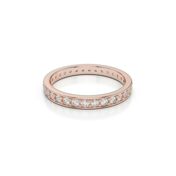 18kt Rose Gold Half Eternity Ring With Round-Cut, Prong-Set Diamonds III