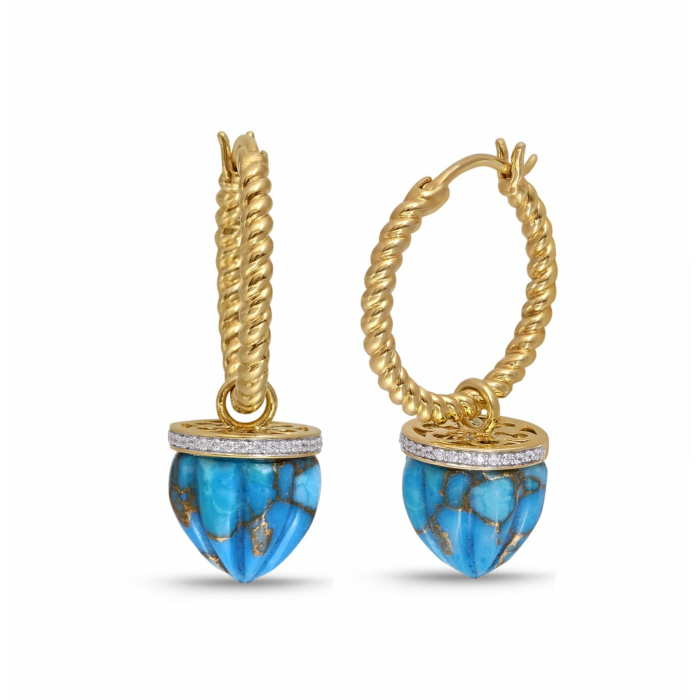 Yellow Gold Plated Silver Turquoise & Diamond Summer Nights Hoop Earrings