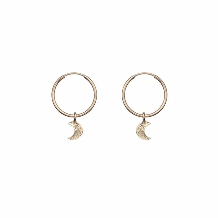 Gold Filled Moon Hoops