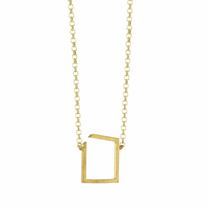 Square Gold Plated Necklace Small