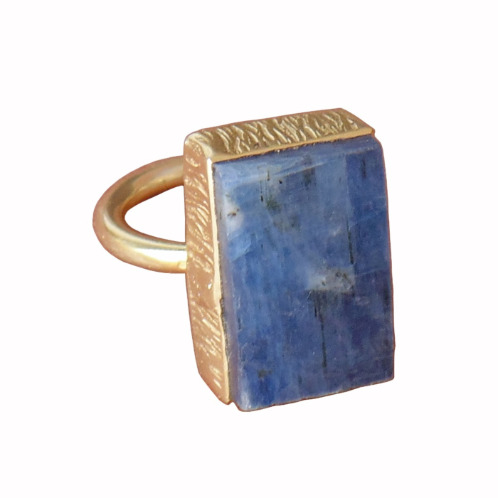 18kt Gold Plated Blue Kyanite Birthstone Bezel Set Party Wear Stacking Ring