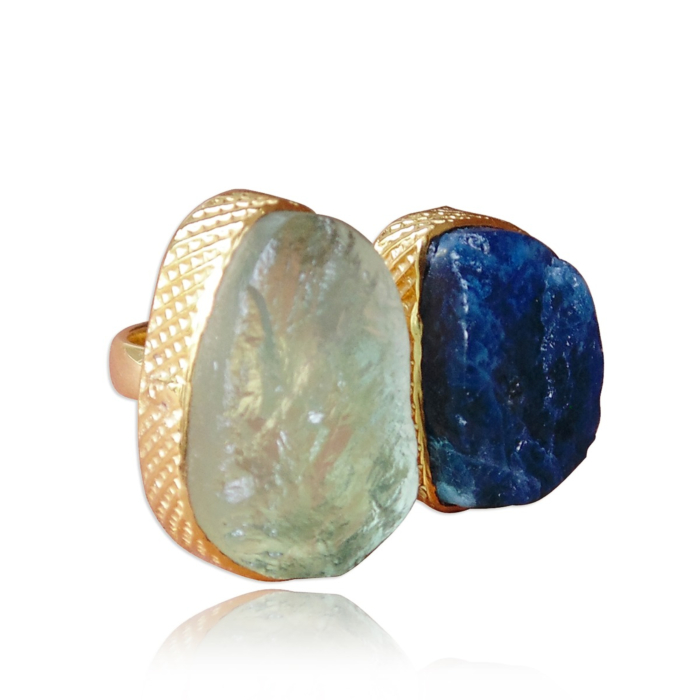 Gold Plated Real Green Fluorite & Apatite Adjustable Ring