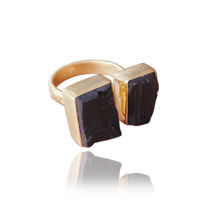 Protective 18K Matte Gold Plated Black Tourmaline Gemstone Mother's Day Ring