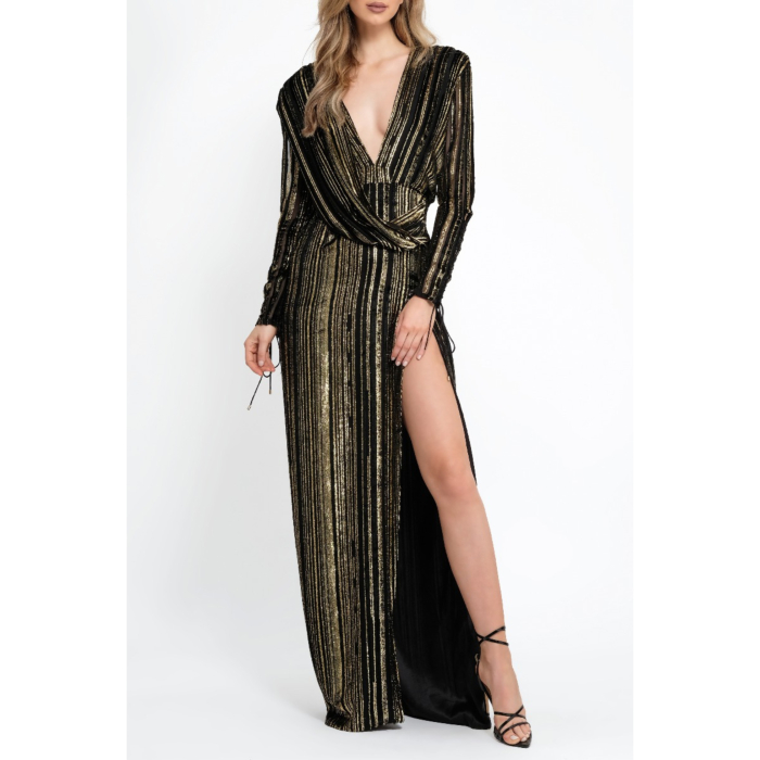 Black With Gold Stripes Gown