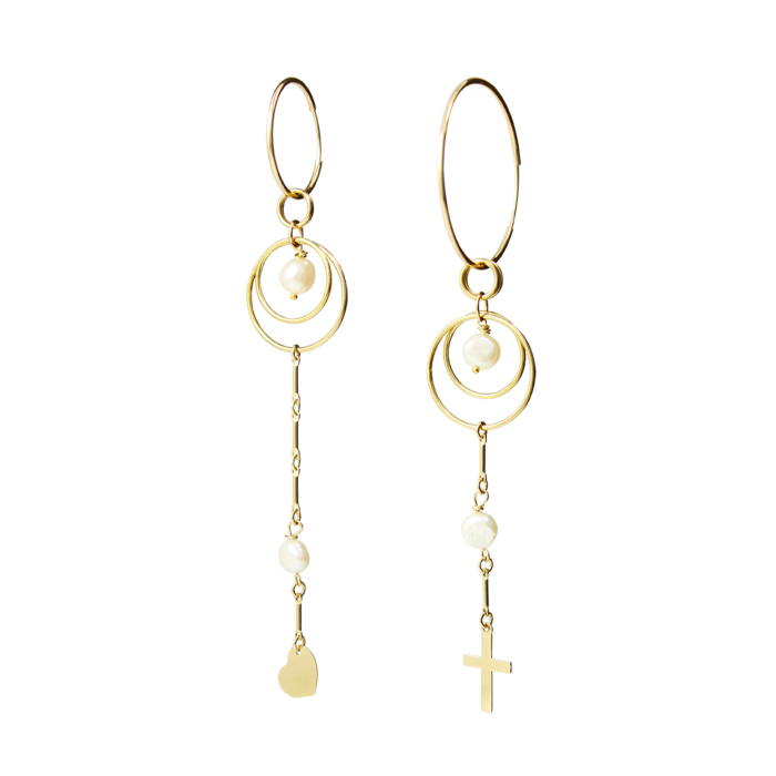 Archer Mismatched Hoops with Pearls and Charms