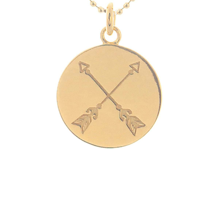 Yellow Gold Plated Crossed Arrows Disc Necklace