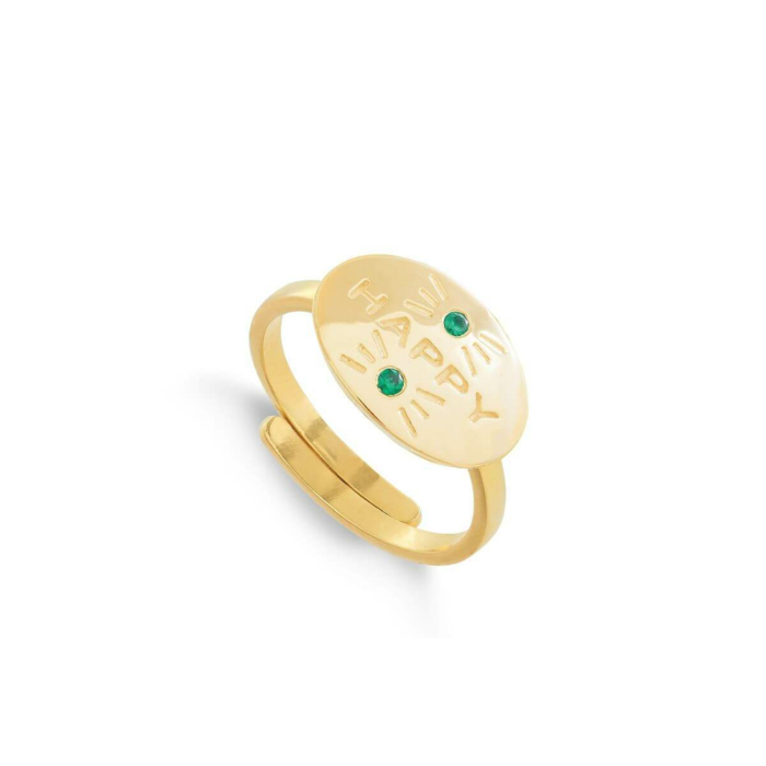 18kt Yellow Gold Plated Silver Hero Happy Emerald Quartz Adjustable Ring
