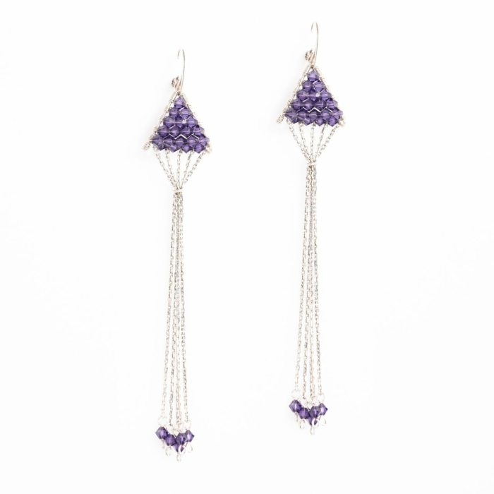 Sterling Silver Triangulum Purple Crystal Earrings