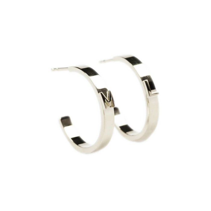 14kt White Gold Character Hoops