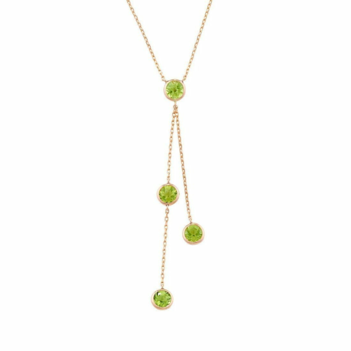 Pimlico Rose Gold Peridot Raindrop Necklace