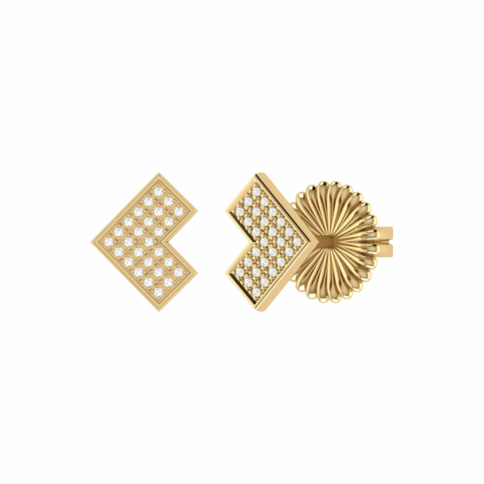 14kt Yellow Gold Plated One Way Stud Earrings