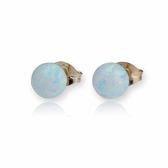 9kt Gold & White Opal Stud Earrings