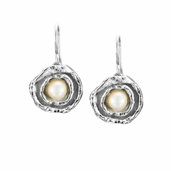 Cornish Double Cup Sterling Silver Designer Handmade Pearl Earrings