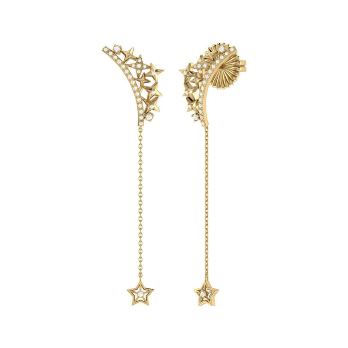 Yellow Gold Plated Starry Cascade Drop Earrings