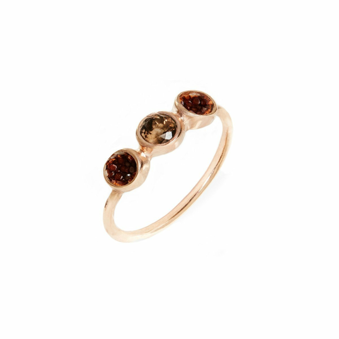 Alice Rose Gold Plated Silver Ring With Brown Stingray Leather
