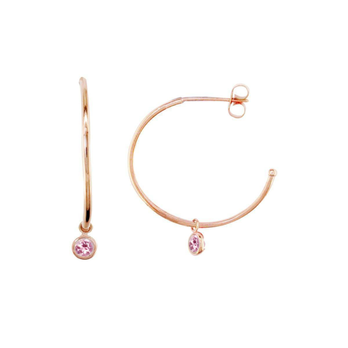 Modern Rose Gold Pink Tourmaline Dew Drop Hoops
