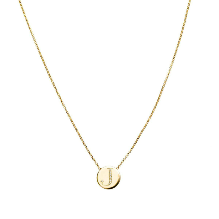18kt Yellow Gold Diamond Letter Necklace