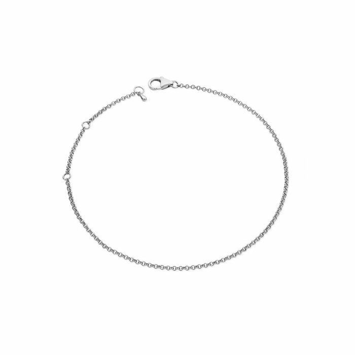Rhodium Plated Drop Anklet