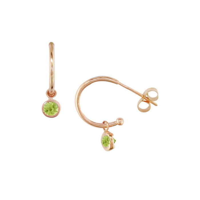Stylish Rose Gold Peridot Dew Drop Hoop Earrings