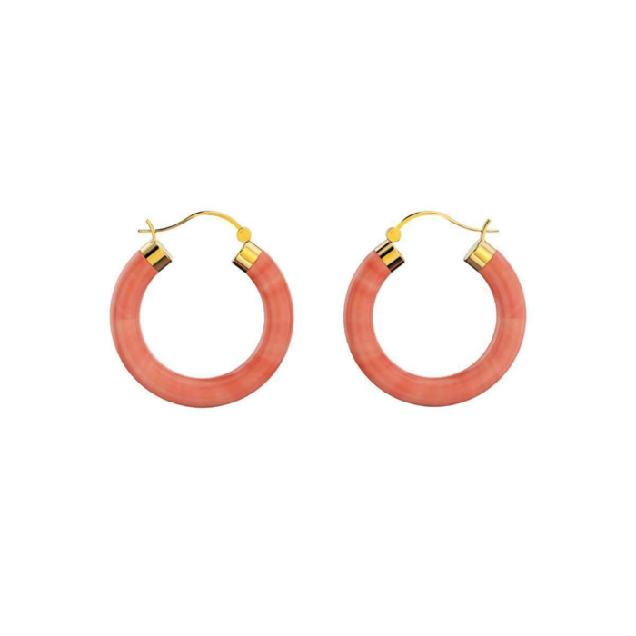 Yellow Gold Plated Sterling Silver Coral Earrings