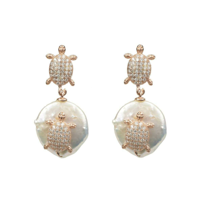 Rose Gold Plated Silver Mini Turtle Coin Pearl Drop Earrings