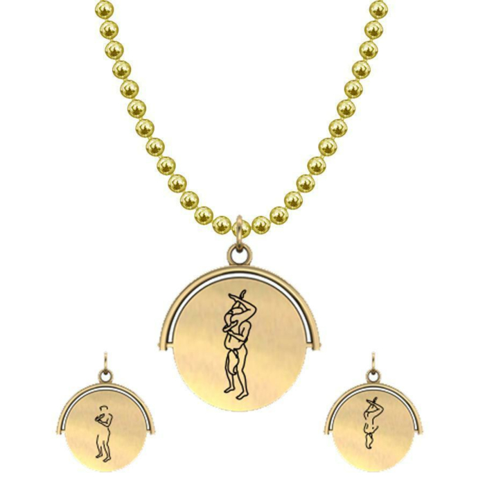 Allumersutra 13MM Gold Pendant Necklace - Girl And Boy - The 69