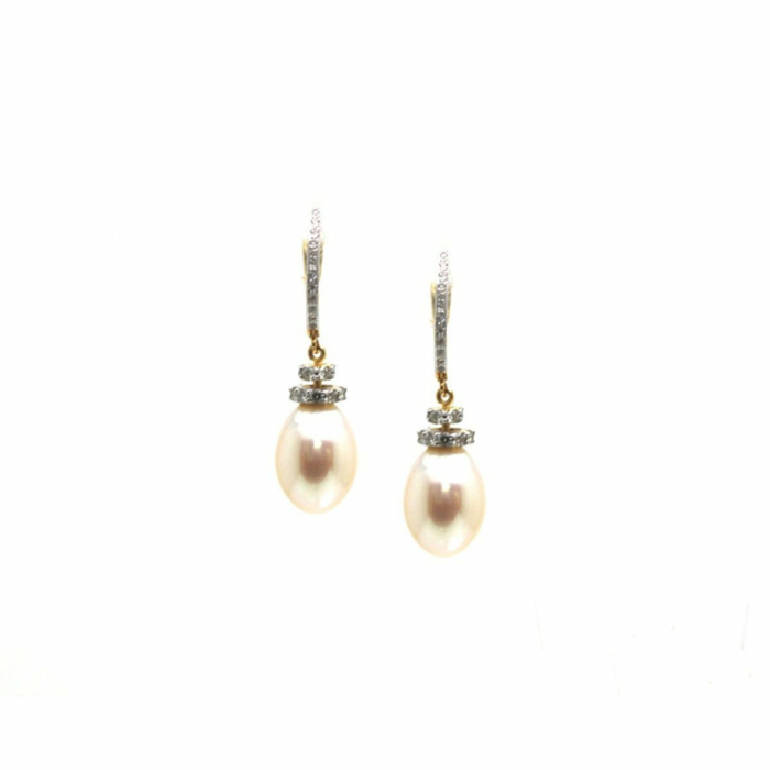 18kt Yellow Gold Earrings With Pearl and Diamond