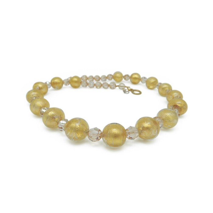Murano Glass Bead Pure Gold Necklace