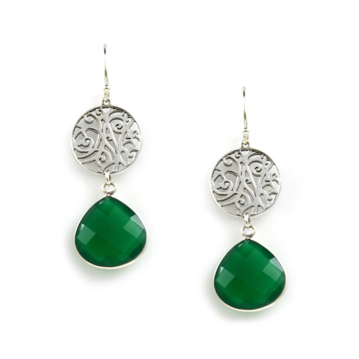 Earrings In Sterling Silver And Green Onyx
