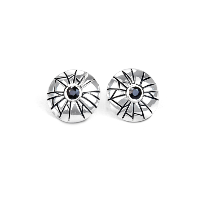 Sterling Silver Mini Shattered Time Earrings with Black Sapphires