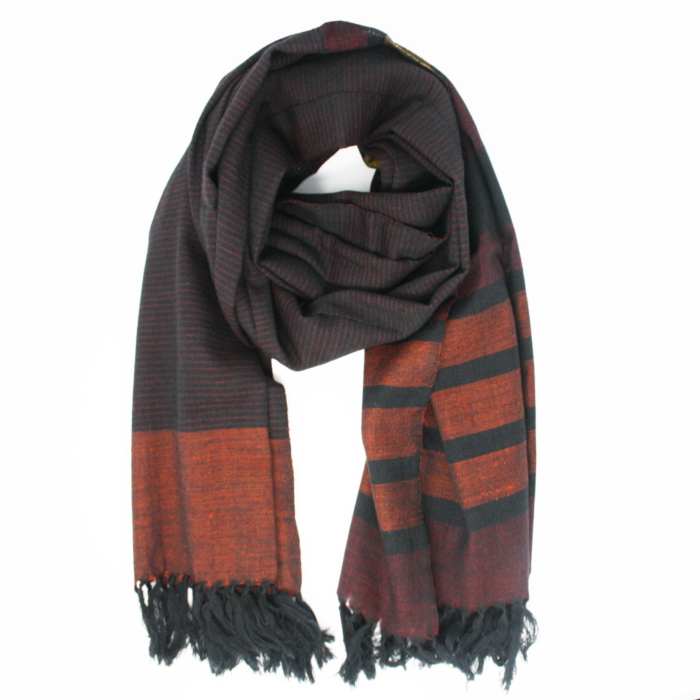 Black and Organe Stripe Merino Wool Scarf