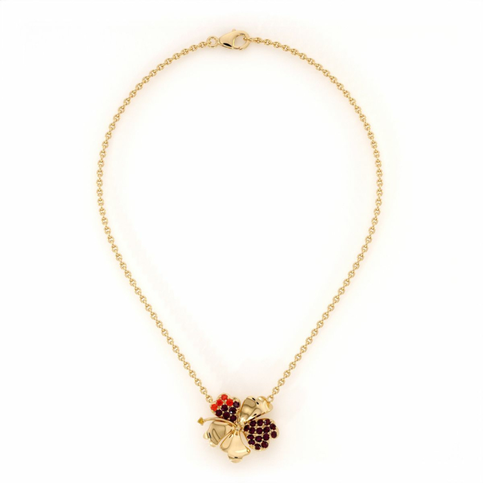 Hibiscus Necklace with Garnet, Red Onyx and Citrine