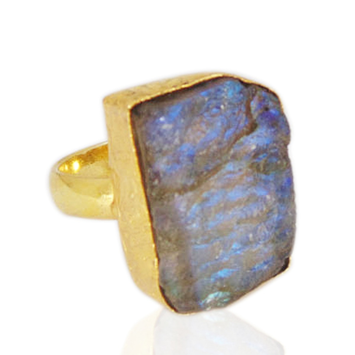 18kt Yellow Gold Plated Blue Fire Labradorite Stackable Ring