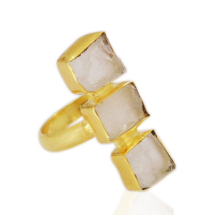 22kt Yellow Gold Plated Crystal Quartz Adjustable Ring