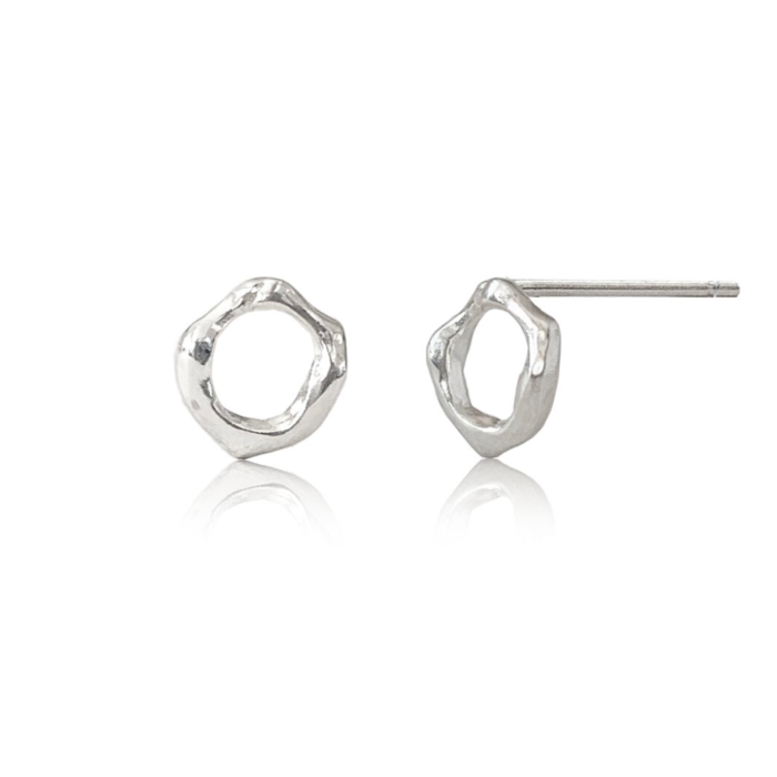 Sterling Silver Twig Circle Stud Earrings Small