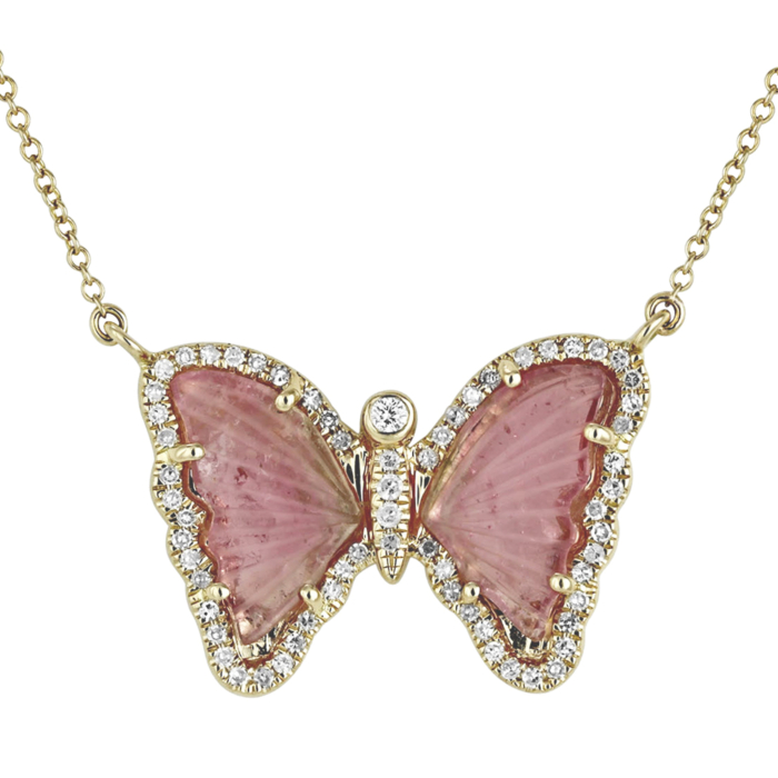 Butterfly Necklace With Pink Tourmaline and Diamonds