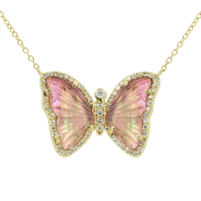 Butterfly Necklace With Pink Tourmaline and Pearl