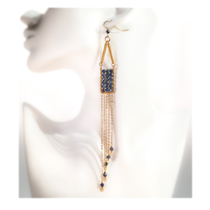 Gold-Filled Manifesto Natural Blue Sapphire Earrings