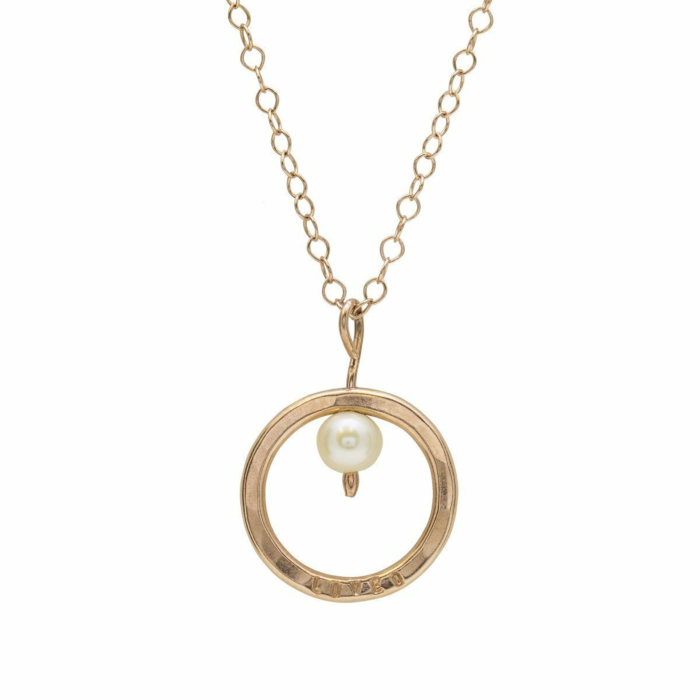 Personalised Pearl And Circle Necklace Rose Gold Plated