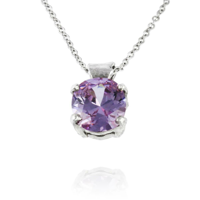 Sterling Silver & Lilac Cubic Zirconia Necklace | Paul Magen