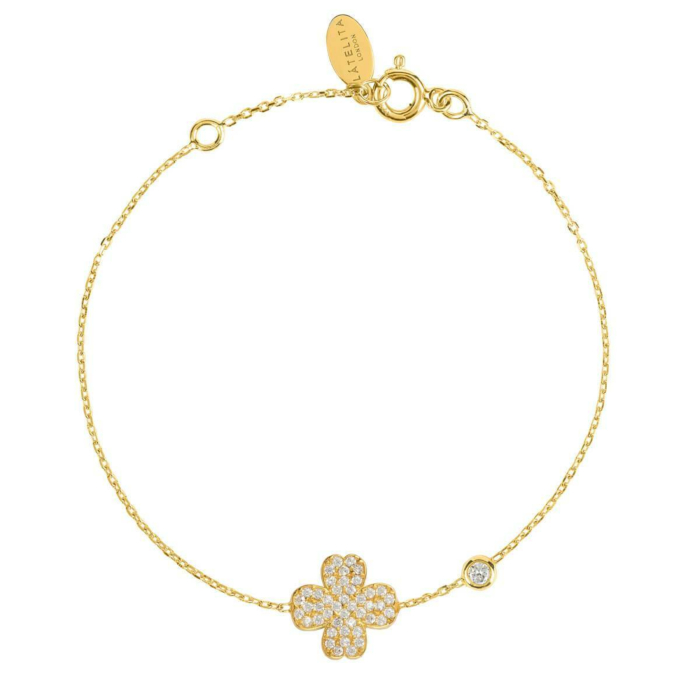 Yellow Gold Plated Lucky Four Leaf Clover Bracelet