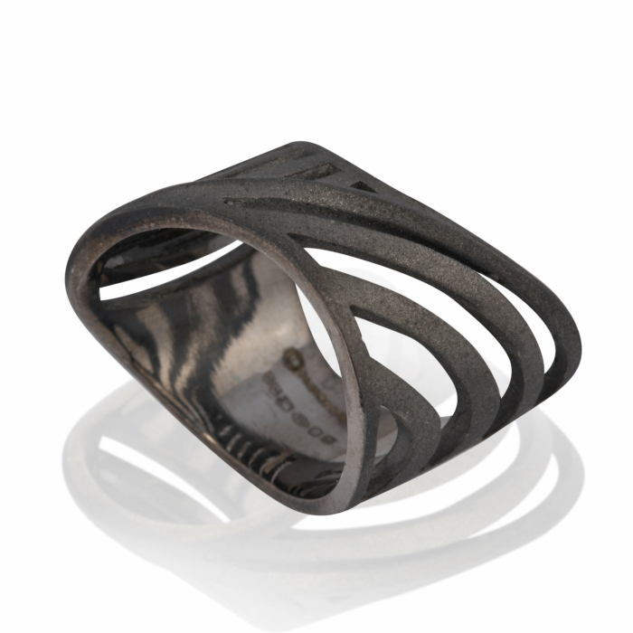 Black Rhodium plated Cut-Out Sharch Ring
