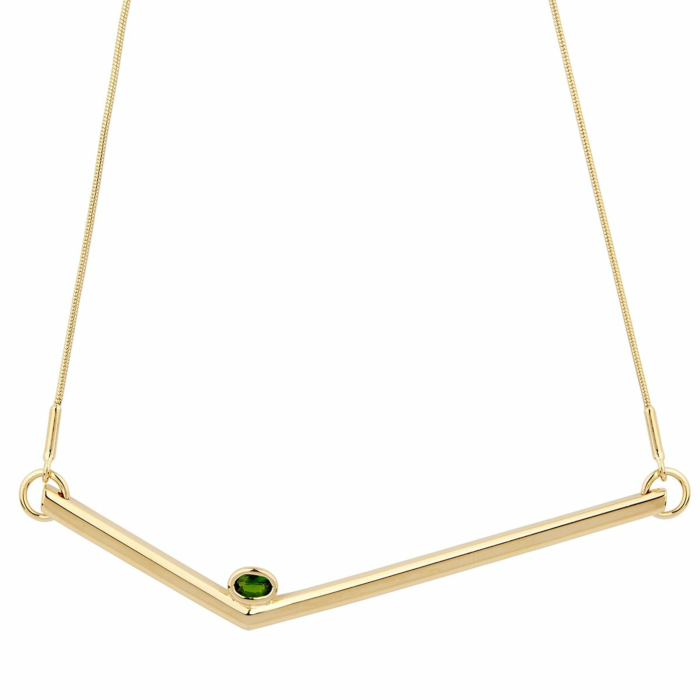 14kt Yellow Gold Plated Sterling Silver Chrome Diopside Simple Transforming Necklace