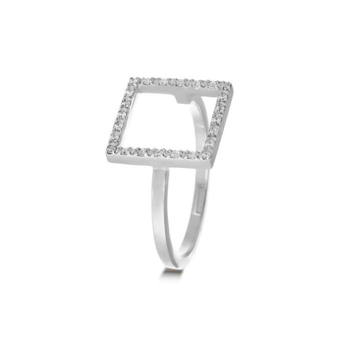 18kt White Gold & Diamond Stylish Square Ring
